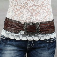 """Roper 3"""" Brown Floral Embossed Hip Belt... To go with my dress for the wedding. Now to find boots..."""