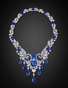 Graff Sapphire, Diamond and Platinum Necklace
