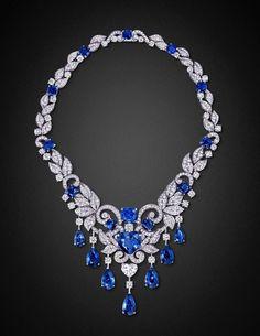Graff Sapphire, Diamond and Platinum Necklace