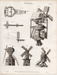 1819 GEORGIAN PRINT ~ WIND MILL VARIOUS EXAMPLES | eBay