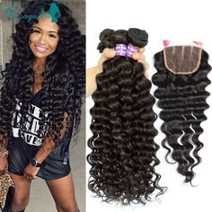 Brazilian Deep Wave With Closure 7A Mink Brazilian Virgin Hair With Closure 3 Bundles Deep Curly Weave Human Hair With Closure * You can find more details by visiting the image link.