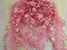 BUY 1 GET 1 FREE Pink Lace Triangle Scarf Floral Scarf with Fringe Long Scarf Fashion Scarf