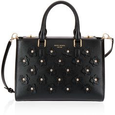 Henri Bendel West 57th Applique Small Turnlock Satchel (745 BAM) ❤ liked on Polyvore featuring bags, handbags, black, flower print purse, handle satchel, henri bendel, henri bendel handbags and floral satchel