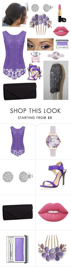 """""""Modified Purple Kebaya"""" by b-berry ❤ liked on Polyvore featuring Olivia Burton, Jools by Jenny Brown, Schutz, J. Furmani, Lime Crime, Clinique, Versace and modern"""