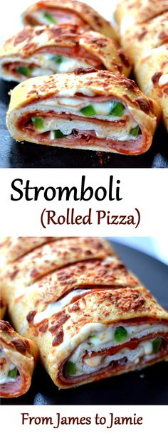 Stromboli is like a rolled pizza. It is so versatile and can be made to everyone's liking. Vegetarian or stuffed to the hilt, they're delicious. Pizza Stromboli, Pizza Roulée, Stromboli Recipe, Good Pizza, Quiches, Pizza Recipes, Dinner Recipes, Cooking Recipes, Healthy Recipes