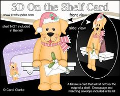 3D On the Shelf Card Kit Christmas Little Dog Sunny on Craftsuprint - View Now!