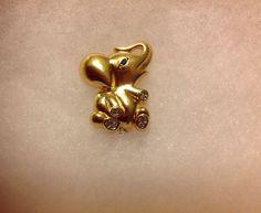Vintage Gold Tone Krementz Rhinestone Baby Elephant Pin Brooch Signed Figural #Krementz