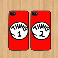 Red Thing 2 Dr Seuss Best Friends iphone 4 Case Soft Rubber - Set of Two… Best Friend Cases, Bff Cases, Friends Phone Case, Cute Phone Cases, Iphone 4, Coque Iphone, Iphone Cases, Apple Iphone, Samsung Galaxy S5