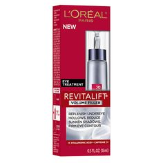 L'Oreal Paris Revitalift Volume Filler Eye Treatment I use this during the daytime to wake my eyes up a bit. It works well with derma e eye lift