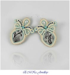 Very light hand made soutache earrings Pearl & Lace -  perfect addition to an original wedding dress.
