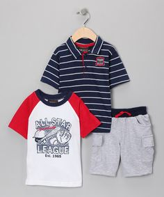 Take a look at this Navy & Red 'All Star' Shorts Set - Infant by Nannette on #zulily today!