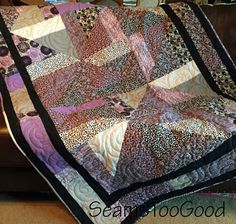 XL Quilted Throw in Gray, Purple, and Black