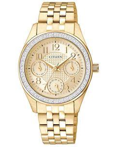 Citizen Quartz Ladies Crystal Dress Watch - Gold-Tone Dial - Multifunction