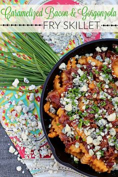 Want an amazing dish that bursting with fun flavors? Try our caramelized bacon and gorgonzola fry skillet made with McCain Seasoned Fries! It's truly drool worthy! #JoyintheKitchen #ad