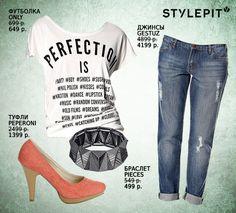 """Лук """"на все времена"""", каждую вещь из которого можно выгодно купить на распродаже на Stylepit.tu!  Футболка ONLY, Джинсы Gestuz, Браслет Pieces, Туфли Peperoni  #fashion #sales #looks #распродажа #бренды #луки #мода"""