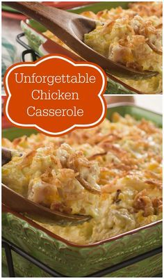 Unforgettable Chicken Casserole only takes 30 minutes in the oven, and it's loaded with simple pantry ingredients that cook up to make an ultra-comforting meal! Make a dinner date with this easy chicken casserole and it'll be unforgettable. by Judiann One Pot Meals, Main Meals, Le Cassoulet, Creamy Chicken Casserole, Leftover Chicken Casserole, Shredded Chicken Casserole, Brocolli Casserole, Chicken Hashbrown Casserole, Chicken And Dressing Casserole