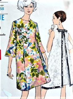 1960s MOD Tent Dress Pattern VOGUE 7243 Daytime or Evening Party Dress Flattering Princess Seam, Back Inverted Pleat Bust 36 Vintage Sewing Pattern