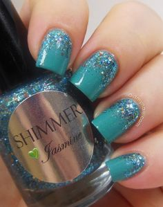 Shimmer Polish Jasmine (gradient over Essie Naughty Nautical)