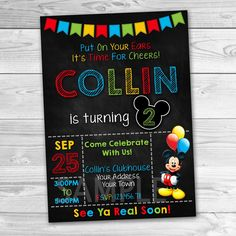 Mickey Mouse Invitation Mickey Mouse Birthday Invitation Mickey
