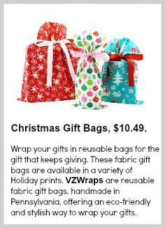 VZWraps Christmas Gift Bags from @VZWraps Fabric Gift Bags #madeinusa