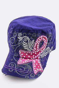This rhinestone adorned, military-style cap is decorated with a pink breast cancer ribbon with a back-set of abstract art. The hat has a brass buckle and is 100% cotton. Color: Purple $21.99 - $7.50 of EVERY purchase is given directly to the Breast Cancer Research Foundation (BCRF)!