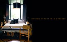 Ideas for the end of the bed - http://www.abigailahern.org/2014/08/08/ideas-end-bed/
