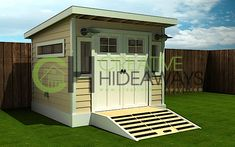 shed, simple more modern. I like the ramp with double door. like simple roof. may add height to add small windows above doors