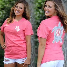 Monogrammed Coral Seersucker Sea Turtle T-Shirt