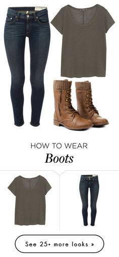 """""""Green And Boots"""" by marsophie on Polyvore featuring MANGO and rag & bone"""