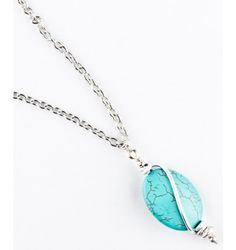Long and simple antique silver and turquoise Ardelle necklace.  Handmade by survivors.  $32.95