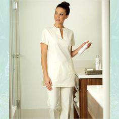 cream kaftan style tunic / trousers for massage therapist ::::::  NEW MIRA Spa Tunic Cream