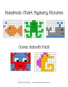 Ocean Animals Hundreds Chart Mystery Pictures - This is a set of 5 fun printable worksheets for students to practice place value and recognizing colors and numbers on a hundreds chart. Use the key to color in the boxes and reveal a hidden picture!    Pictures are:  -fish  -octopus  -whale  -crab  -seahorse