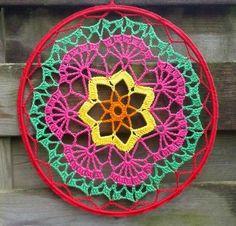 Crochet Mandala Pattern, Crochet Headband Pattern, Crochet Doilies, Crochet Yarn, Crochet Patterns, Crochet Mandela, Beanie Pattern Free, Crochet Rings, Crochet Dreamcatcher