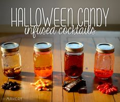 4 Halloween Candy Infused Liqueurs   Camp Makery Holday drinks, Cocktails, Halloween cocktails, Halloween party
