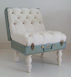 What a great repurpose...The Suitcase Chair  White Samsonite  Furniture  Recreate