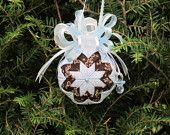 Quilted no sew fabric Baby Boy ornament ball - Blue and Brown with Blue and Silver Bow, and a Blue charm pacifier