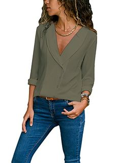 e42f2f55c3 LOSRLY Women Deep V Neck Long Sleeve Button Down Shirts Casual Blouses and  Tops (S