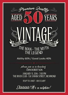 Birthday Invitation for Men – JPEG printable – Aged to Perfection – Over the Hill Birthday – Mens Birthday – Whiskey Label – Party Ideas 50th Birthday Party Ideas For Men, 50th Party, 60th Birthday Party, Wife Birthday, Birthday Gifts, Birthday Decorations, Birthday Cakes, Birthday Greetings, Happy Birthday 50