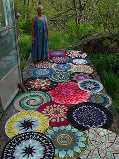 """""""Mandalas aren't always crocheted, but give a creative artist some colorful yarn and a hook and they can be beautiful. I think this is the first picture I ever came across of crocheted mandalas. Aren't they beautiful? Mandala Au Crochet, Tapestry Crochet, Mandala Pattern, Mandala Rug, Mandala Throw, Lotus Mandala, Free Crochet, Knit Crochet, Knitted Rug"""