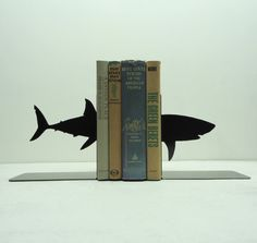 Shark Bookends  Free USA Shipping by KnobCreekMetalArts on Etsy, $39.99