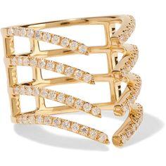 Khai Khai Linear Imperfection 18-karat gold diamond ring ($1,650) ❤ liked on Polyvore featuring jewelry, rings, gold, diamond jewellery, 18k ring, gold tone jewelry, 18k jewelry and diamond jewelry