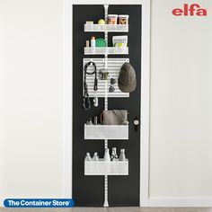 Maximize and customize your space. Our exclusive White Elfa Over the Door Rack makes the most of often-wasted vertical space on a door or wall. Available only at The Container Store, you'll love how the utility board and four baskets can be easily configured or repositioned to fit your storage needs. It's easy to remove one of the baskets to take with you. Great for entryways! Door Storage, Storage Bins, Bathroom Storage, Storage Spaces, Locker Storage, Clothes Storage, Craft Storage, Storage Rack, Over The Door Organizer