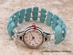 Stretch Beaded Watch Band Reconstruted by LindersCreations on Etsy, $28.00