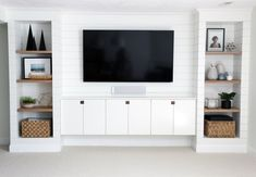 DIY Shiplapped Built-In Entertainment Center DIY Built-ins & Faux Shiplap - Benjamin Moore Simply White (soft and subtly creamy white).DIY Built-ins & Faux Shiplap - Benjamin Moore Simply White (soft and subtly creamy white). Built In Tv Wall Unit, Tv Built In, Built In Tv Cabinet, Media Wall Unit, Ikea Tv Wall Unit, Floating Media Cabinet, Ikea Wall Units, Bedroom Wall Units, Floating Tv Unit