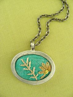 Turquoise Embroidered Needlework Fabric Necklace - Soft Summer Beauty - Vintage Embroidery Pendant Silver NECKLACE