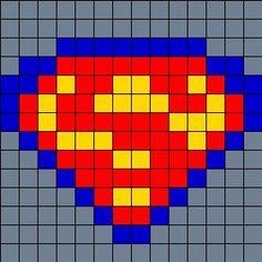 Superman On Small Square Pegboard Perler Bead Pattern / Bead Sprite Fuse Bead Patterns, Kandi Patterns, Perler Patterns, Beading Patterns, Cross Stitch Patterns, Cross Stitches, Perler Beads, Fuse Beads, Perler Bead Designs