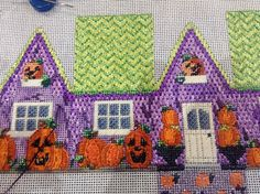 needlepoint Halloween house, possibly Associated Talents