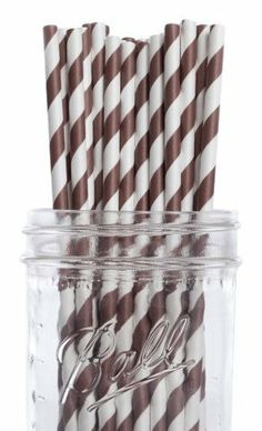 Dress My Cupcake Chocolate Brown Striped Paper Straws, 50-Pack by Dress My Cupcake. $15.20. FDA approved. Made from all natural material with food grade ink. Pack of 50 Retro Chocolate Brown Striped Paper Drinking Straws (7-3/4-inch long)-Great for any occasion. Our paper drinking straws are long-lasting, strong and durable, making them great for birthdays, weddings, picnics and much more. These paper straws are 100-percent biodegradable. Dress My Cupcake is the world's...