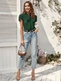 tie neck blouse – Lussoca Tie Neck Blouse, Green Pattern, Types Of Sleeves, Mom Jeans, Pullover, Elegant, Fabric, Color, Tops