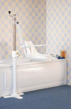 Oxford Mermaid Hydraulic Bathroom Hoist is a very practical and safe bath hoist which can be fitted to either the side or the end of the bath. Bathroom Chair, Ada Bathroom, Bathrooms, Handicap Bathtub, Bath Chair For Elderly, Basement Guest Rooms, Basement Entrance, Laminate Tile Flooring, Rocking Chair Pads